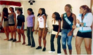 Miss Earth contestants in a dance practice in Port Harcourt