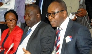 L-R:  Acting Executive Secretary,  Petroleum Products Pricing Regulatory Agency, Mrs Sotonye Iyoyo, Group Executive Director, NNPC Ventures, Dr Babatunde Adeniran and Minister of State for Petroleum Resources, Dr Emmanuel Ibe Kachikwu, during the minister's appearance before the Senate Committee on Petroleum Upstream , at the National Assembly  in Abuja on Tuesday