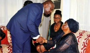 Governor Akinwunmi Ambode of Lagos (left), condoling the widow of Dr Tunji Braithwaite, Mrs Grace Braithwaite, during a condolence visit to Braithwaite's  family in Lagos, recently. With them is Dara Rhodes.