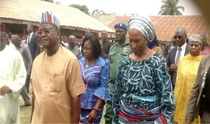 Governor Samuel Ortom of Benue (left), and  wife  of the  Vice President, Mrs Dolapo Osinbajo, during the Vice President's wife visit to Idps camp in Makurdi recently.