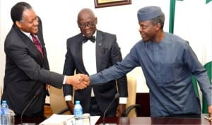 L-R: Former Minister of Foreign Affairs, Mr Odein Ajumogobia, Leader, University of Lagos, Akoka Lagos and 1975-79 Law Set Reunion, Justice Chinyelu Anigbogu and Vice-President Yemi Osinbajo, during the visit of the group to the Presidential Villa on Abuja on Thursday