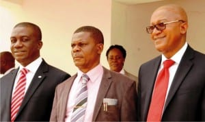 L-R: Deputy Managing Director Ecobank Nigeria, Mr Anthony Okpanachi, Chief Medical Director University of Nigeria Teaching Hospital (unth), Dr Chris Amah and Ecobank Head of Commercial Banking, Mr Shehu Jafiya, during the handover of consultant doctors common room building to unth in Enugu, recently.