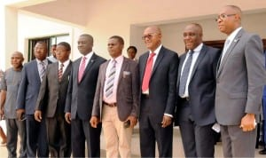 Deputy Managing Director Ecobank Nigeria, Mr Anthony Okpanachi (4th left) with Chief Medical Director University of Nigeria Teaching Hospital (Unth), Dr Chris Amah (5th left) and other officials during the handover of consultant doctors common room building to Unth in Enugu last Monday