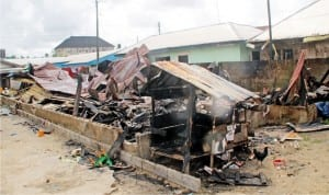 Greater Power of God Fire Mission International on Imgbi Road Amarata was destroyed by fire  in  Yenagoa, Bayelsa State, recently.