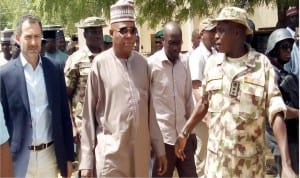Governor Kashim Shettima of Borno State (middle), with UN Assistant Secretary General,  Mr Toby Lanzer (left),  during a visit to assess the humanitarian crisis in Bama, Borno State   on Wednesday