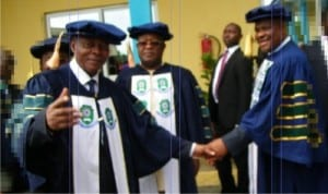 The Acting Vice Chancellor of the Rivers State University of Science and Technology, Professor Blessing C. Didia (right) welcoming the Rivers State Governor, Chief Nyesom Wike to the 28th Convocation Ceremony of the University, while chairman of the Governing Council, Justice Iche Ndu (rtd) watches.      Photo: Sogbeba Dokubo