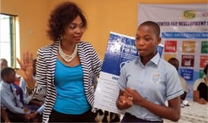 Director/CEO Institute for Partnership, Mrs Ogbanga during the lecture at CSS Amadi Ama