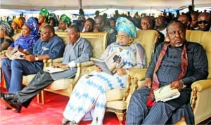 L-R: Wife of the governor of Bayelsa State, Mrs Rachael Dickson, Governor Seriake Dickson, former President Goodluck Jonathan, his wife Patience, and Governor  Rochas Okorocha of Imo State, during the commendation service for late Diepreye Alamieyeseigha, at Amasoma in Bayelsa State on Saturday