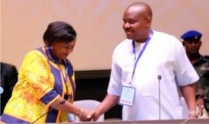 Rivers State Deputy Governor, Dr. (Mrs) Ipalibo Harry Banigo welcoming the state Governor, Chief Nyesom Wike to the Retreat for top Government Functionaries organized by Rivers State Government in Port Harcourt, recently.