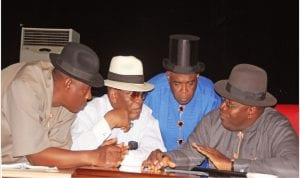 L-R: Speaker, Bayelsa State House of Assembly, Kombowei Benson, Bayelsa State Deputy Governor, Rear Admiral. Gboribiogha John Jonah, Secretary to the State Government, Serena  Spiff and Governor Seriake Dickson, at the swearing-in  of Commissioners and Special  Advisers in Bayelsa on Wednesday