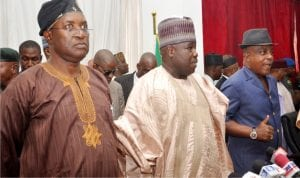 L-R: PDP National Secretary, Prof. Wale Oladipo, PDP National Chairman, Dr Ali Modu Sheriff, and Acting Chairman of PDP National Working Committee,  Uche Secondus, during the inauguration of PDP Special Committees for the coming National Convention in Abuja on Tuesday