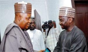 Director General, National Emergency Management Agency (nema), Alhaji Sani Sidi (right), welcoming Governor Kashim Shettima of Borno State to nema headquarters in Abuja, recently.