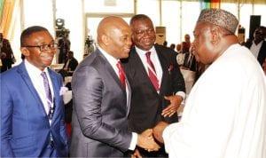 L-R: Director-General Oganiru Enugu State Investment  Summit, Mr Ike Chioke, Chairman United Bank For Africa, Mr Tony  Elumelu, Deputy Senate President, Chief Ike Ekweremadu and Governor Ifeanyi Ugwuanyi of Enugu State, during the 2016 Oganiru Enugu  State Investment Summit in Enugu onTuesday