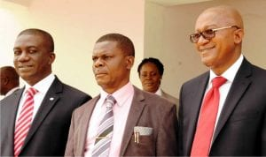 L-R: Deputy Managing Director Ecobank Nigeria, Mr Anthony Okpanachi; Chief Medical Director University of Nigeria Teaching Hospital (Unth), Dr Chris Amah and Ecobank Head of Commercial Banking, Mr Shehu Jafiya, during the handover of Consultant Doctors Common Room Building to Unth in Enugu, recently.
