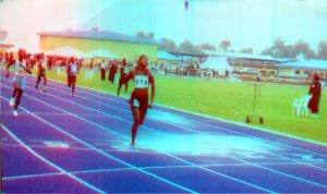 Female runner finishing her race