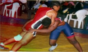 Female wrestlers in contest