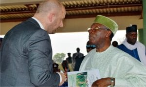 Polish Ambassador to Nigeria, Amb Andrzej Dycha (left) in a chat with the Minister of Agriculture, Chief Audu Ogbe, at the 2016 National Agricultural Show in Keffi, Nasarawa State, recently.