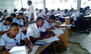 One  of the make shift classroom in Community Comprehensive Secondary School, Apani, Ikwerre Local Government Area of Rivers State.