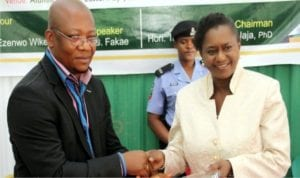 Rivers State Governor, Chief  Nyesom Wike, represented by his Deputy, Dr. (Mrs) Ipalibo Harry Banigo (right), receiving an Award of Excellence from Hon. Tamunosisi Gogo-Jaja on behalf of the National Executive Council (NEC) of the University of Nigeria Alumni Association (UNAA), during its NEC meeting in Port Harcourt, at the weekend.