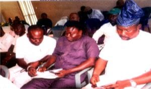 Chairman, Rivers State Council of National Youth Council of Nigeria (NYCN), Ambassador Sukubo Sara-Igbe Sukubo (middle), Edo State chairman of NYCN, Innocent Ajayi (left) and Delta State chairman of NYCN, Comrade Hope, during an extra-ordinary Congress of the youth council in Benin.