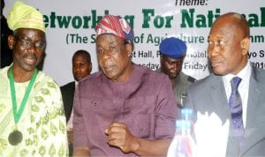 L-R: President, National Institute of Public Relations (NIPR), Dr Rotimi Oladele, Oyo State Deputy Governor,  Chief Moses Adeyemo and former Director, Army Public Relations,  Maj.- Gen. Chris Olukolade (rtd),  at the opening of National   Conference/AGM of National Institute of Public Relations (NIPR) in Ibadan on Thursday