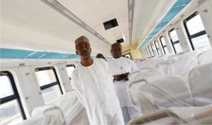 Permanent Secretary, Ministry of Transportation,  Mr Sabiu Zakari (Front), inspecting  the interior  of the newly arrived Commercial Coaches for Abuja  rail project  during his visit to Idu in Abuja  recently.  With him is the Acting Managing Director, Nigerian Railway Corporation, Mr  Fidet Okhiria.