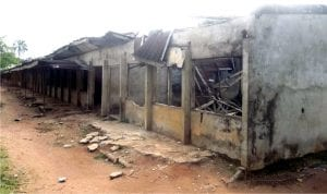 Dilapidated classroom blocks at Ihenweorie Secondary School, Ahiara Mbaise, Imo State, recently.