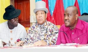 R-L: Rivers State Governor, Chief Nyesom Wike, Chairman of the state Council of Traditional Rulers/ Amanyanabo of Opobo, King Dandeson Jaja  and Rivers State Commissioner for Chieftaincy Affairs, Mr  John Bazia,   during the 103rd Quarterly meeting of Rivers Traditional Rulers in Port Harcourt ,yesterday