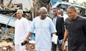 Members of the House of Representatives Committee on Army, during their visit to the sites allegedly damaged by soldiers ( on February 22 and 23, 2016) in Ogoni communities of Gokana and Khana Local Government Areas in Rivers, yesterday
