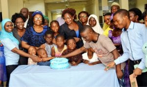 L-R: Consultant  Psychiatrist, Dr Bello Mojeed-Abiola,, Consultant Psychiatrist, Grace Ijarogbe, Chief  Consultant Psychiatrist, Special Grace, Dr Oluyemi Ogun,  Chief Nursing Officer, Ms Abiola  Akingbohungbe and Children of Child and Adolescent Mental Health Service, during Autism Day in Lagos, recently.