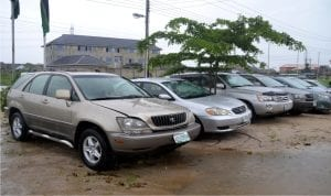 Fleet of recovered cars by the Special Anti-Robbery Squard (SARS) displayed at Rukpokwu Unit, Obio/Akpo Local Government Area, durig a press briefing by the Rivers State Commissioner of Police, Musa Kimo, yesterday.