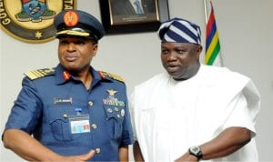 Chief of Air Staff, Air Marshal Saddiq Abubakar (left) and Governor Akinwunmi Ambode of Lagos during a visit of the Chief of Air Staff to Governor Ambode in Lagos, recently.