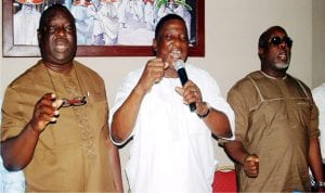 L-R: First Deputy National Chairman, Petroleum Tanker Drivers Branch of Nigeria Union of Petroleum and Natural Gas Workers (NUPNGW), Lucky Osesua, National Chairman, Salimon Oladiti, and  Second National Deputy Chairman, Comrade, Dayyabu Garga, at the National Safety Training Programme for tankers drivers in Lagos on Wednesday.