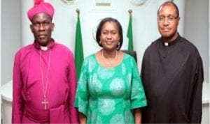 L-R:. Bishop, Niger Delta Diocese, Rt. Rev. Ralph Cornelius Ebirien, Rivers State Deputy Governor, Dr. (Mrs) Ipalibo Harry Banigo and Clerical Synod Secretary Ven. Amavey Christian Abbey-Kalio, during a courtesy visit by the members of the Diocese to Government House, Port Harcourt.