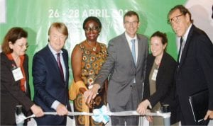 L-R: Project Manager, Food Processing and Packing Machinery, Ms Martina Claus, Managing Director of Fairtrade, Mr Martin Marz, Technical Adviser  (Youth and Gender) to the Minister of Agriculture and Rural Development, Mrs Mosumola Umar, Consular General, Embassy of France, Lagos, Mr Laurent Polonceaux, Project Manager, Subsaharan Africa Livestock and Genetics, Aude Roelly, and Economic Councillor, French Embassy, Francis Widmer, at the opening of Exhibition and Conference on Agrofood and Plastprintpack Nigeria in Lagos, yesterday.