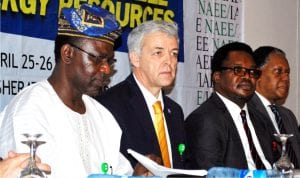 L-R: President, Nigeria Association for Energy Economics (NAEE), Prof. Wumi  Lledare, 2016 president-elect,  International Association for Energy Economics (IAEE), Mr Ricado Raineri, representative  of the Vice President of Nigeria, Mr Chinedu Ugbo, and chairman of the occasion, Mr Odein Ajumogobia, during the 9th NAEE/IAEE annual international conference in Abuja recently.