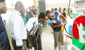 Officials of Department of Petroleum Resources (DPR) in Bayelsa  conducting checks during a monitoring and check of sharp practices by fuel dealers in Bayelsa State recently.