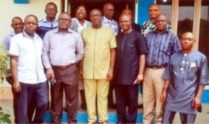 Group photograph of General Manager and Management team of Radio Rivers with Chairman and Exco of NUJ Rivers State Council at the end of courtesy visit recently.                 Photo: Chris Monyanaga