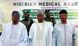 L-R: Minister of Health, Prof Isaac Adewole, Governor Aminu Tambuwal of Sokoto State and Minister of State for Health, Dr Osagie Ehanire, at Nigeria Medical Association Annual Conference in Sokoto yesterday.