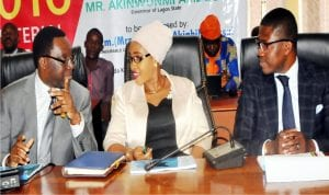 L-R: Lagos State  Commissioner for Information and Strategy, Mr Steve Ayorinde, Commissioner for Youth and Social Development, Mrs Uzamat-Yusuf and the Permanent  Secretary, Youth and Social Development, Hakeem Muri Okunola, at a news conference by Lagos Commissioner for Youth and Sports to mark one year of Governor Akinwunmi Ambode in office, in Lagos yesterday.