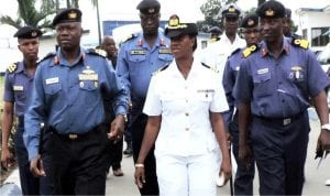 L-R:  Newly appointed Flag Officer Commanding (FOC) Eastern Naval Command, Rear Adm. James Oluwole, Commandant, Nigerian Navy Secondary School, Port Harcourt, Commander Feyisara Solebo and Command Operations Officer, Eastern Naval Command, Commodore Razaq Babalola, during the FOC's familiarisation tour of Navy formations and units in Port Harcourt yesterday.