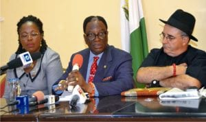 President, Nigeria Society of Engineers (NSE), Engr Otis Anyoeyi (middle), addressing journalists at the Ernest Ikoli Press Centre, during a briefing by the NSE. With him are Vice President of NSE, Engr G. Massari (right) and Engr Edith Issidu, in Port Harcourt, yesterday.Photo: Nwiueh Donatus Ken