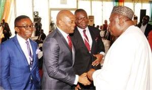L-R: Director-general Oganiru Enugu State Investment  Summit, Mr Ike Chioke, Chairman United Bank for Africa, Mr Tony  Elumelu; Deputy Senate President, Chief Ike Ekweremadu and Governor Ifeanyi Ugwuanyi of Enugu State, during the 2016 Oganiru Enugu State Investment Summit in Enugu on Tuesday.
