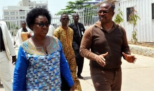 The Head of the Civil Service of the Federation, Mrs Winifred Oyo-Ita (left), and the Permanent Secretary, Common Services, Office of the Head of the Civil Service of the Federation, Mr Yemi Adelakun, inspecting the Federal Civil Service Club at Mabushi in Abuja on Saturday