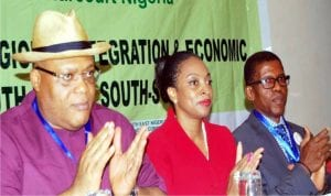 L-R:  Representative of Rivers State Governor, Mr Kenneth Kobani, representative of Vice President, Mrs Jemoke Odewale and President, South East-South-South Professionals of Nigeria, Mr Emeka Ugwu-Oju, at the 2nd South-East South-South Development Forum in Port Harcourt, yesterday
