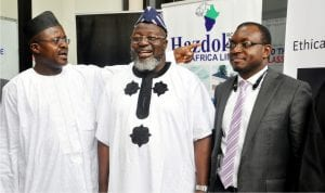 L-R: President, Computer Professionals Registration Council, Prof Vincent Asor, Minister of Communications, Adebayo Shittu and Representative of the Vice President, Mr Akingbolahan Adeniran, at the 2016 Cyber Security Threats and Countermeasures in Abuja, recently