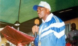 Commissioner for SportsRivers State , Hon Boma Iyaye, making a speech