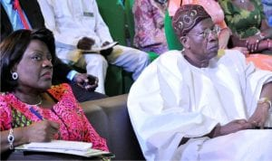 The Minister of Information and Culture, Alhaji Lai Mohammed (right) and the Permanent Secretary, Mrs Ayo Fasugba, at the National Summit on Culture and Tourism in Abuja on Friday.