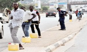 Fuel hawkers at the Central Area at Garki in Abuja last Thursday