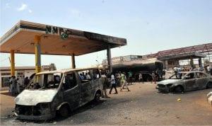 Burnt vehicles at Nnpc Mega Station and Shemaco Petrol Station, Ungwa /Mu'Azukaduna gutted by fire in Kaduna recently.